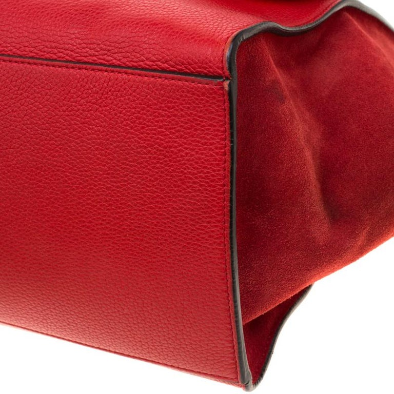 Celine Red Leather and Suede Medium Trapeze Bag For Sale 6