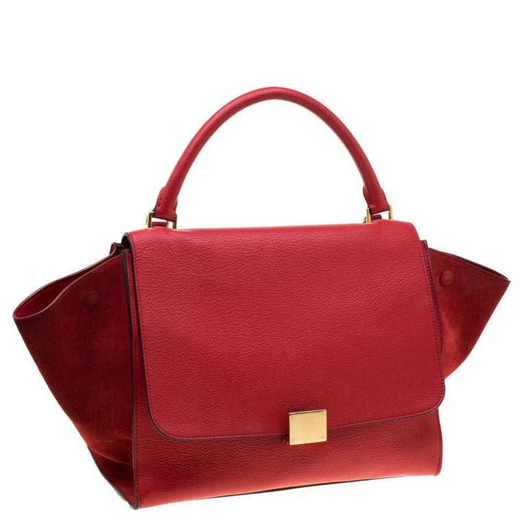 Women's Celine Red Leather and Suede Medium Trapeze Bag For Sale