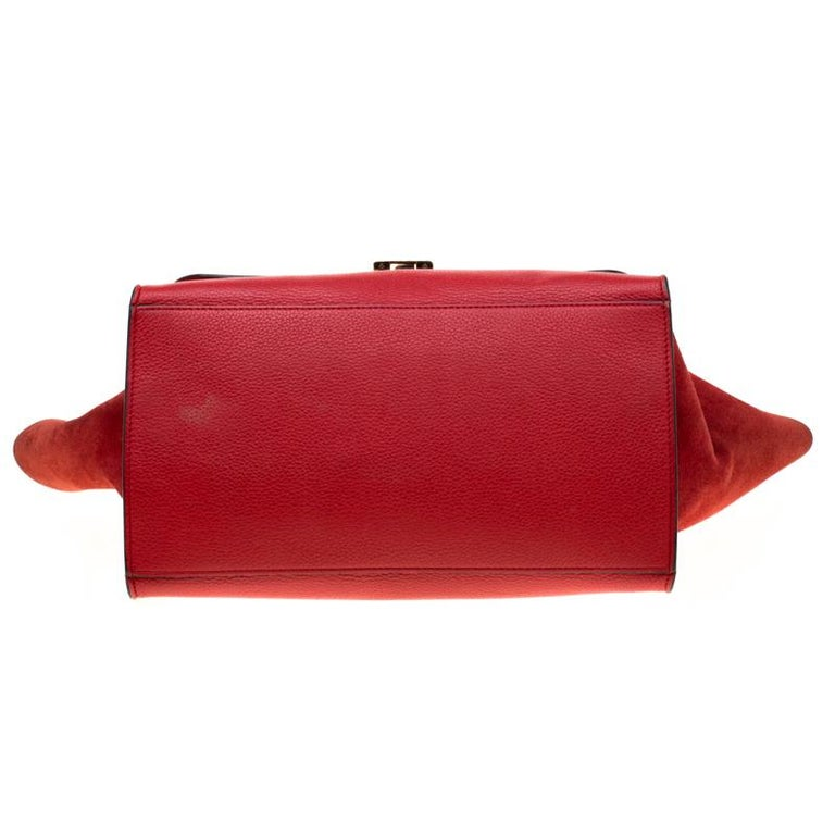 Celine Red Leather and Suede Medium Trapeze Bag For Sale 1