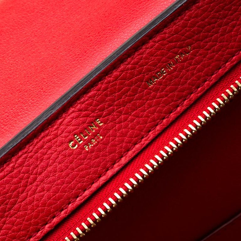 Celine Red Leather and Suede Medium Trapeze Bag For Sale 2
