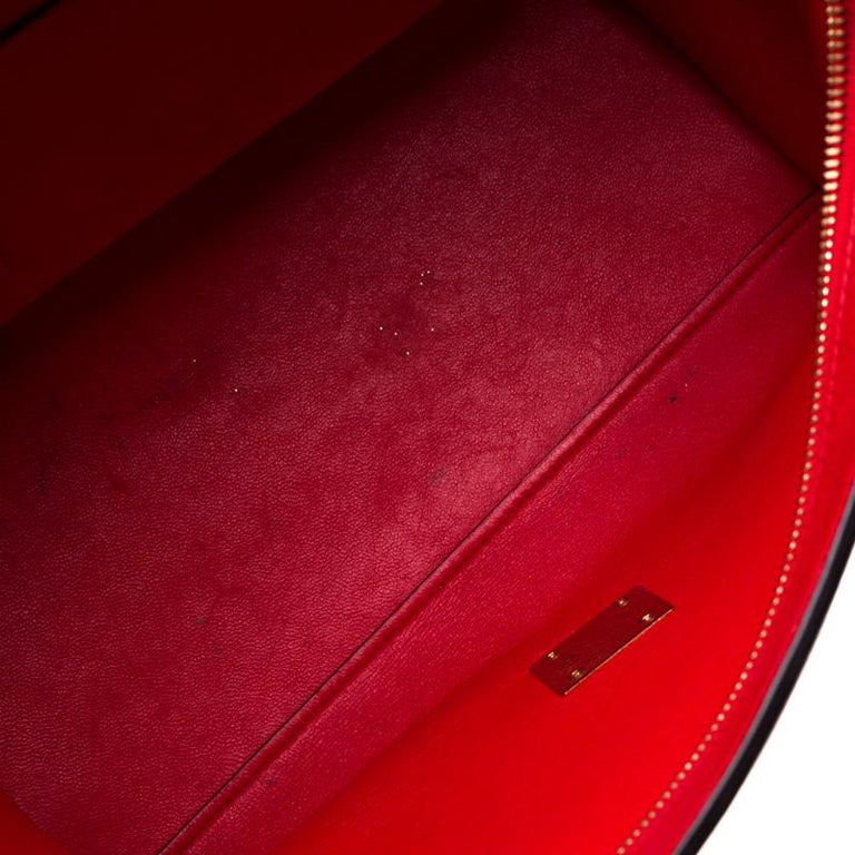 Celine Red Leather and Suede Medium Trapeze Bag For Sale 3