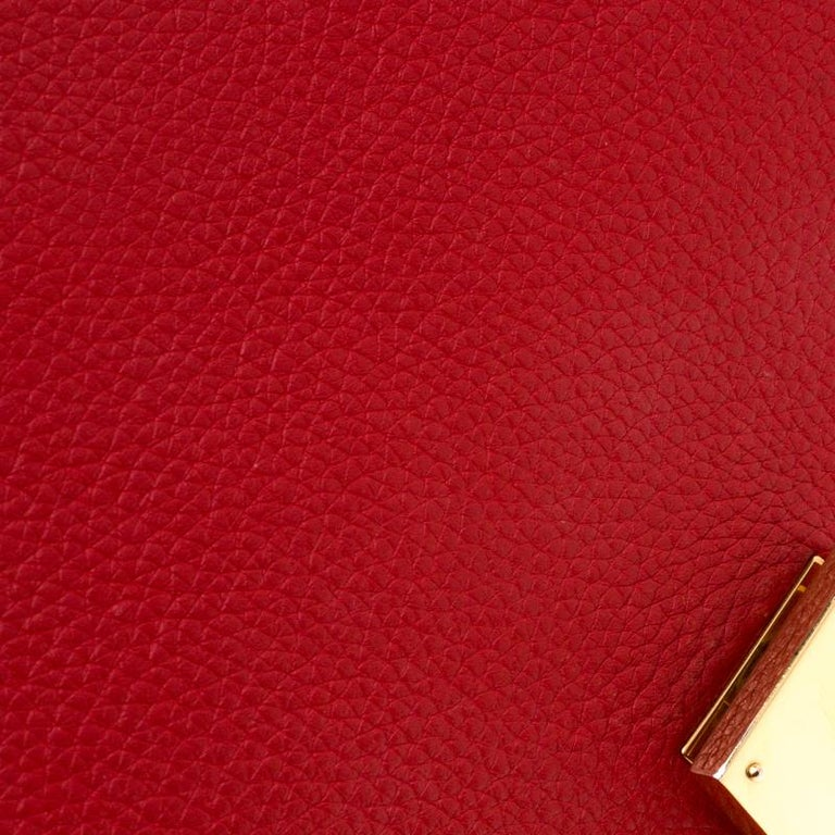 Celine Red Leather and Suede Medium Trapeze Bag For Sale 4