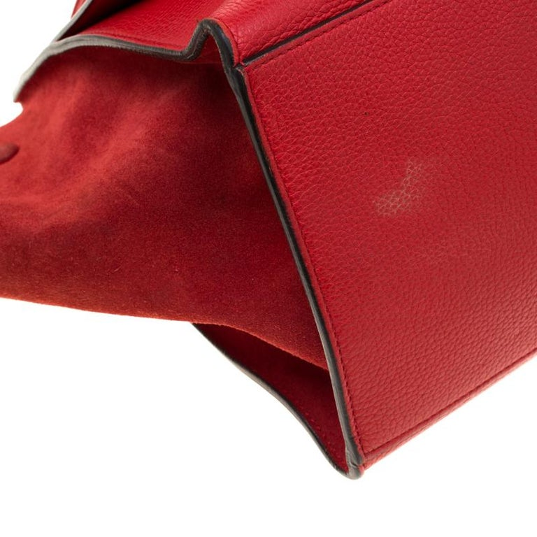 Celine Red Leather and Suede Medium Trapeze Bag For Sale 5