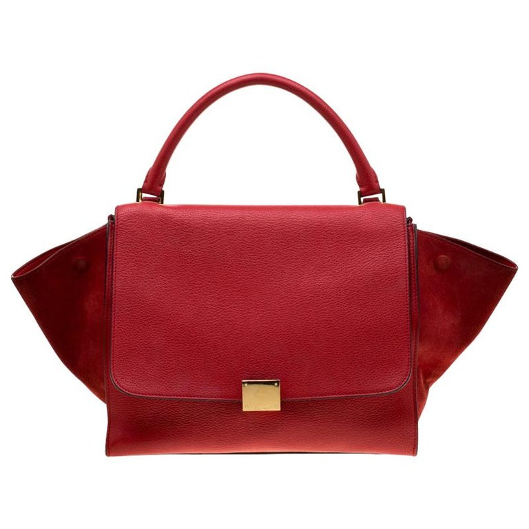 Celine Red Leather and Suede Medium Trapeze Bag For Sale