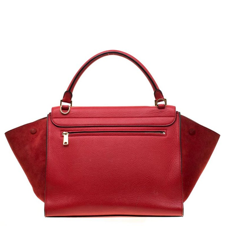 Celine Red Leather And Suede Medium Tze Top Handle Bag