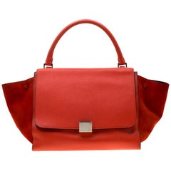 Celine Red Leather and Suede Medium Trapeze Tote