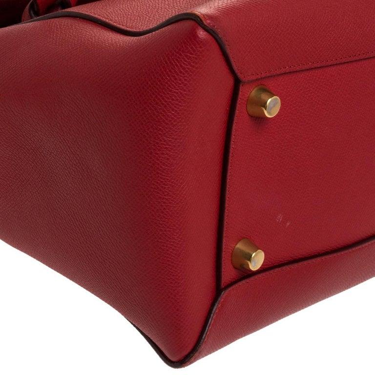Celine Red Leather Belt Top Handle Bag 6