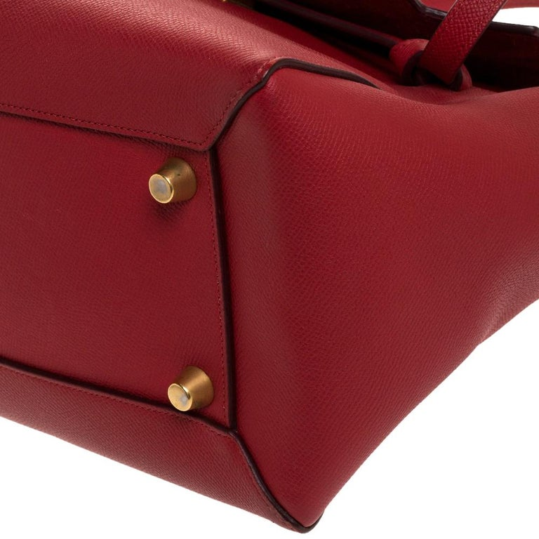 Celine Red Leather Belt Top Handle Bag 7