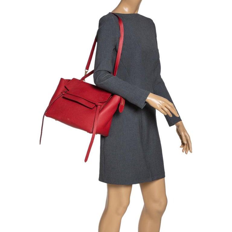 Celine Red Leather Belt Top Handle Bag In Good Condition In Dubai, Al Qouz 2