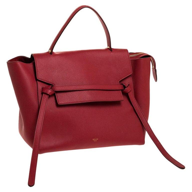 Women's Celine Red Leather Belt Top Handle Bag