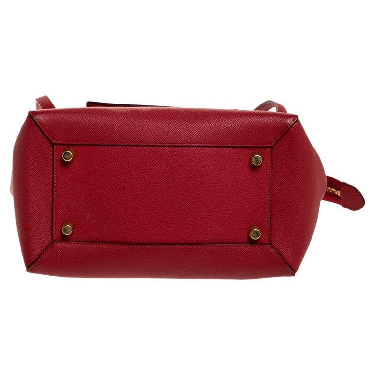 Celine Red Leather Belt Top Handle Bag 1