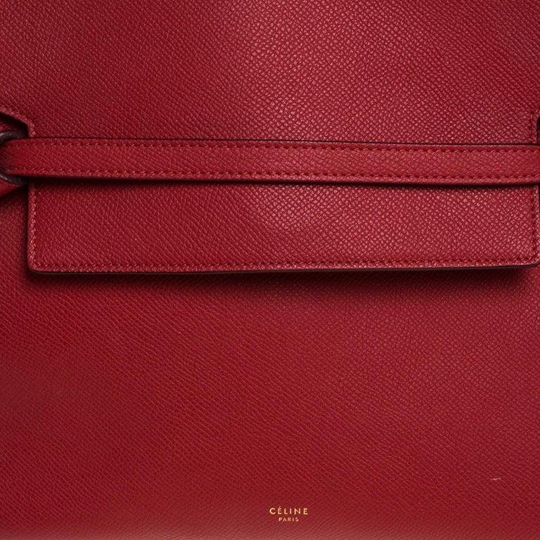 Celine Red Leather Belt Top Handle Bag 2