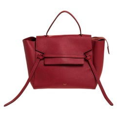 Celine Red Leather Belt Top Handle Bag