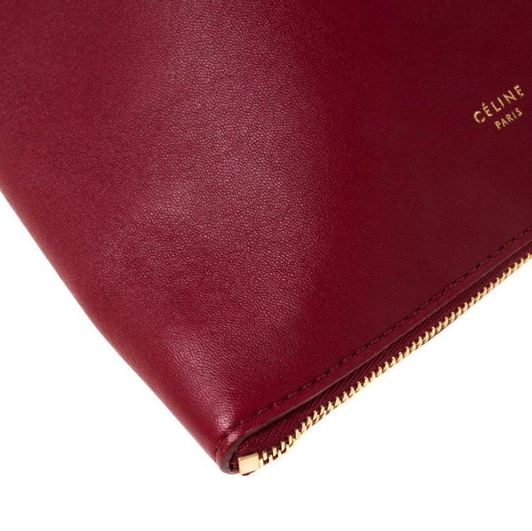 Céline Red Leather Berlingot Clutch For Sale 5