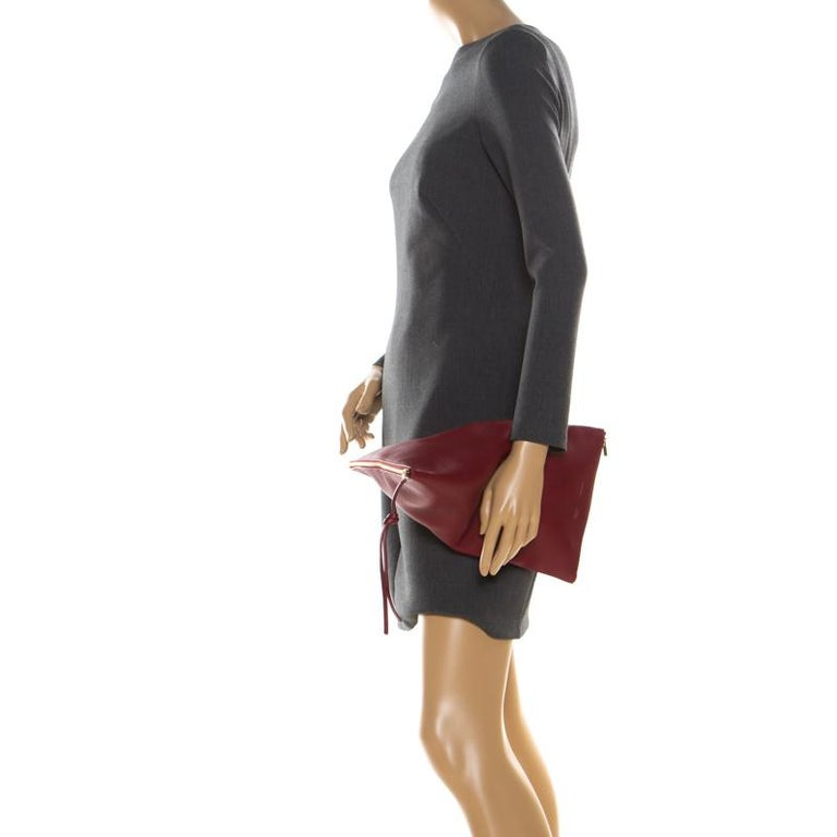 Brown Céline Red Leather Berlingot Clutch For Sale