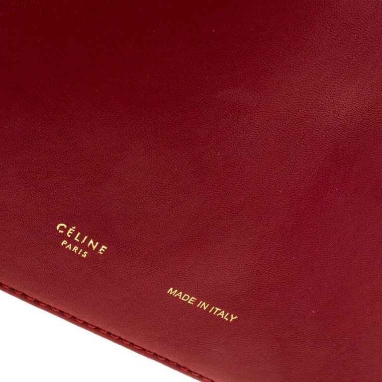 Céline Red Leather Berlingot Clutch For Sale 3