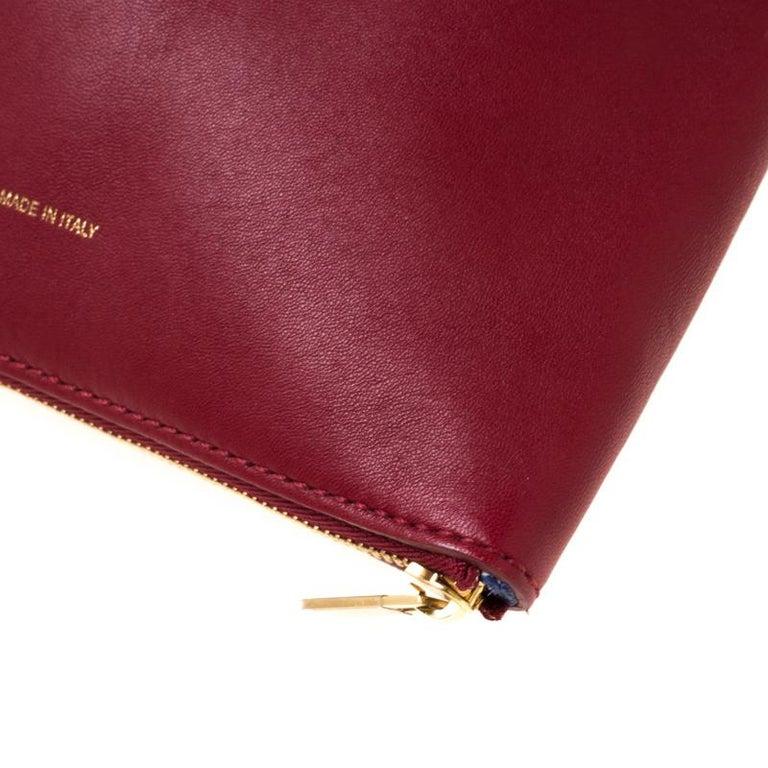 Céline Red Leather Berlingot Clutch For Sale 4