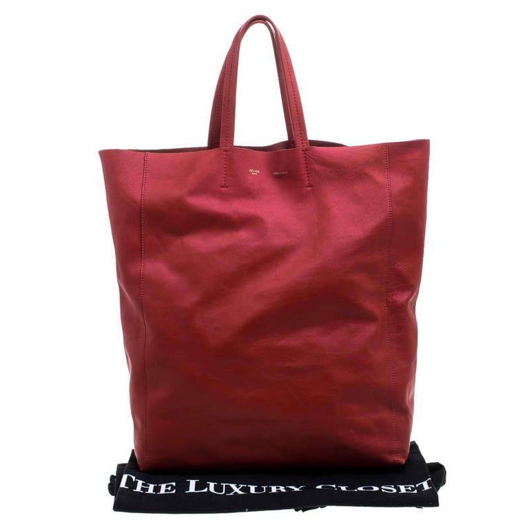 Celine Red Leather Cabas Tote For Sale 5