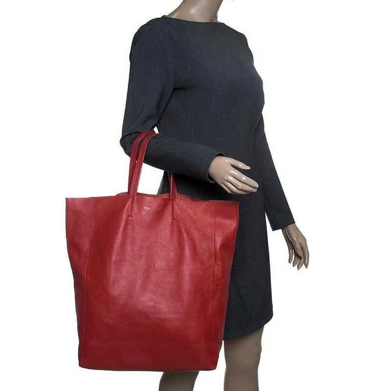 Brown Celine Red Leather Cabas Tote For Sale