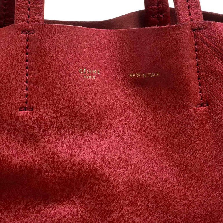 Women's Celine Red Leather Cabas Tote For Sale