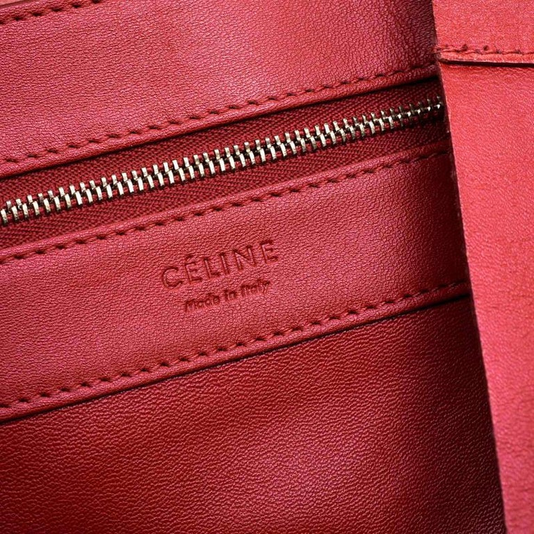 Celine Red Leather Cabas Tote For Sale 2