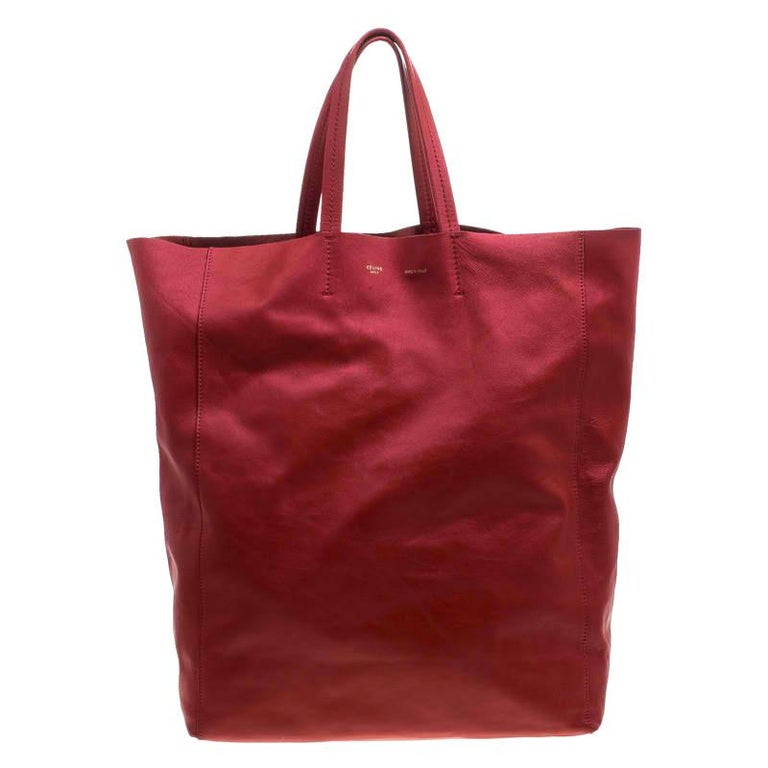 Celine Red Leather Cabas Tote For Sale
