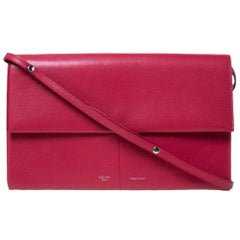 Celine Red Leather Folded Clutch Bag