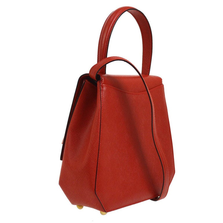 Celine Red Leather Gold Logo Kelly Style Top handle Satchel Shoulder Flap Bag In Good Condition For Sale In Chicago, IL
