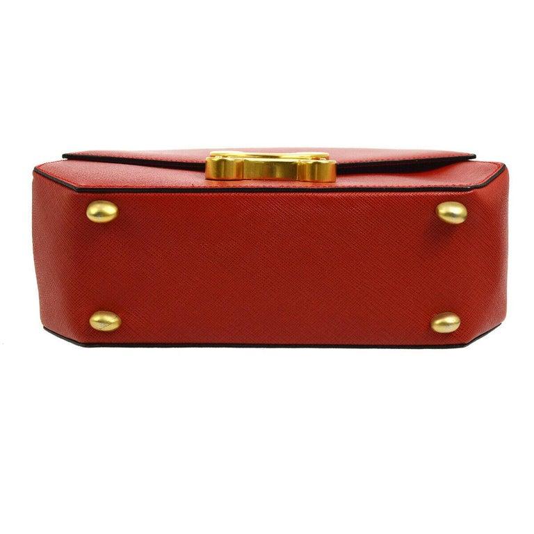 Women's Celine Red Leather Gold Logo Kelly Style Top handle Satchel Shoulder Flap Bag For Sale