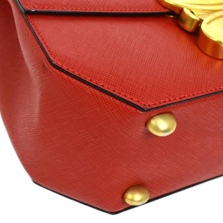 Celine Red Leather Gold Logo Kelly Style Top handle Satchel Shoulder Flap Bag For Sale 1