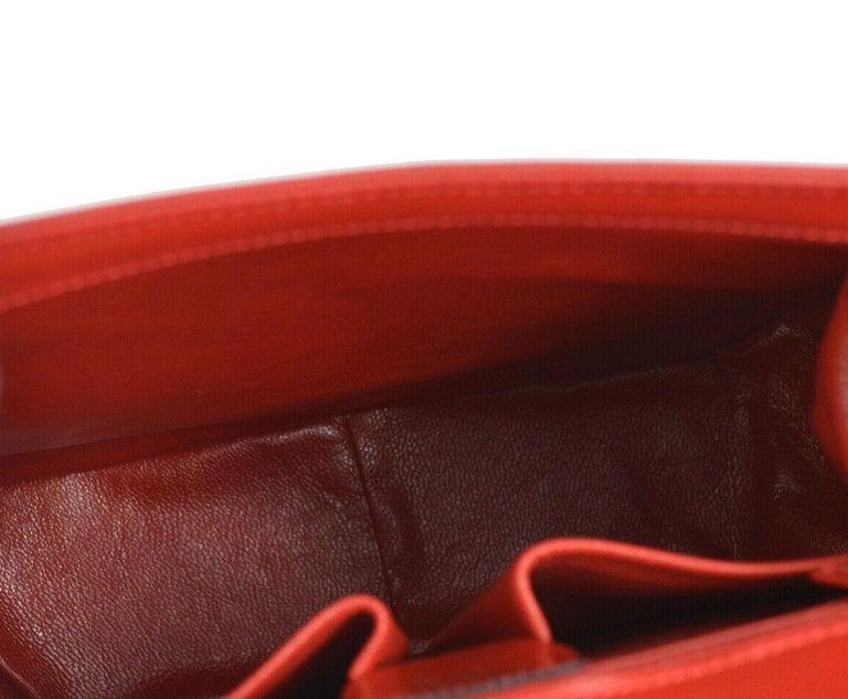 Celine Red Leather Gold Logo Kelly Style Top handle Satchel Shoulder Flap Bag For Sale 2