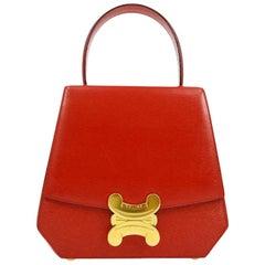 Celine Red Leather Gold Logo Kelly Style Top handle Satchel Shoulder Flap Bag
