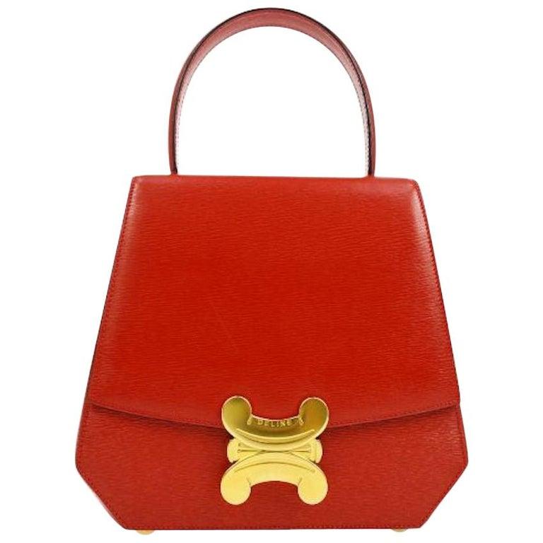 Celine Red Leather Gold Logo Kelly Style Top handle Satchel Shoulder Flap Bag For Sale