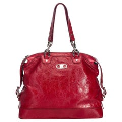 Celine Red  Leather Handbag France w/ Dust BagAuthenticity Card