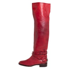 Céline Red Leather Knee Length Boots Size 39