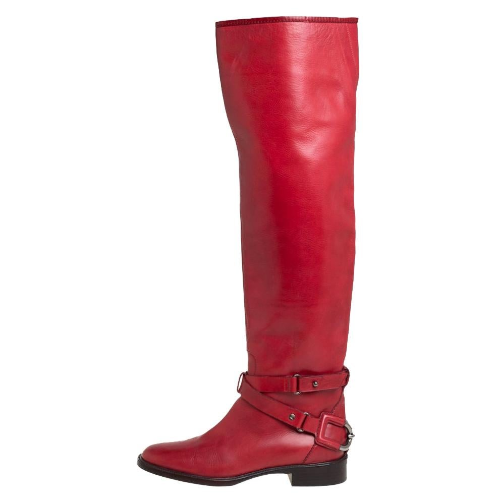 Celine Red Leather Knee Length Boots Size 39