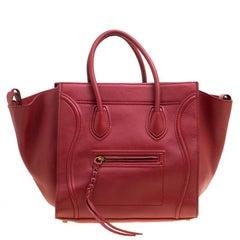 Celine Red Leather Medium Phantom Luggage Tote