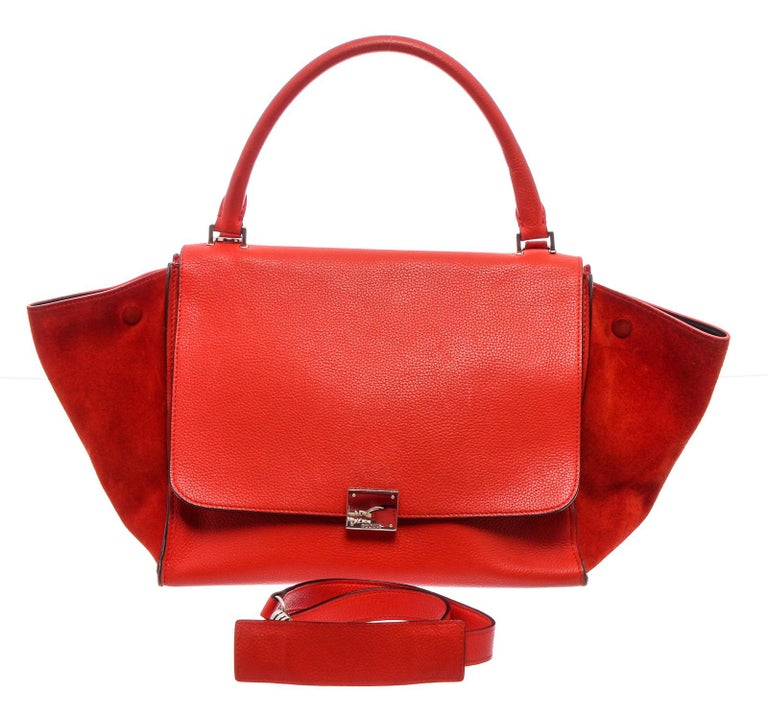 Celine Red Leather Medium Trapeze Tote Bag In Good Condition For Sale In Irvine, CA