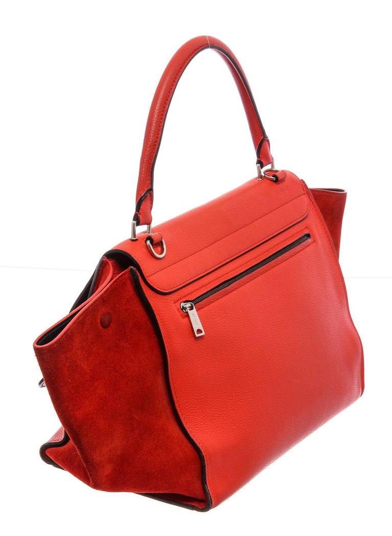 Women's or Men's Celine Red Leather Medium Trapeze Tote Bag For Sale