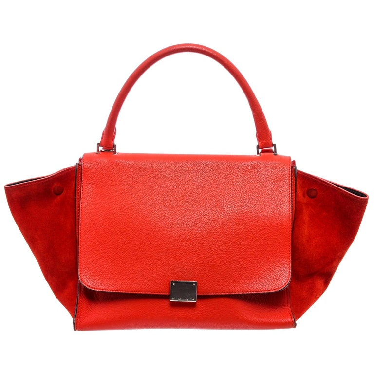 Celine Red Leather Medium Trapeze Tote Bag For Sale
