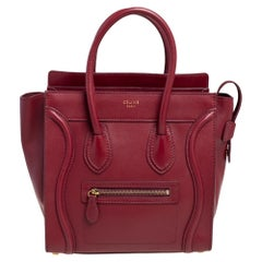 Celine Red Leather Micro Luggage Tote