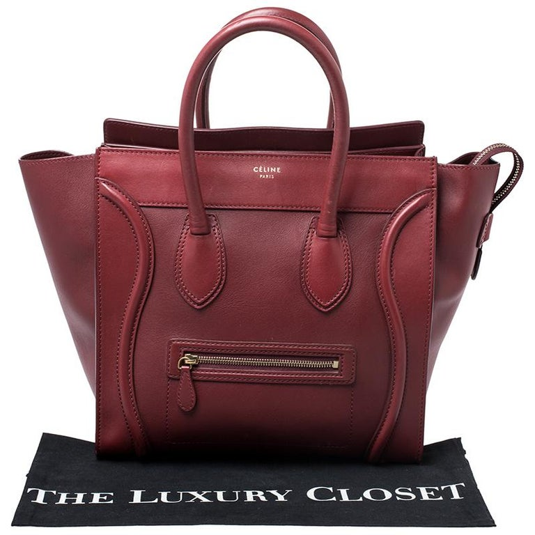 Celine Red Leather Mini Luggage Tote For Sale 6