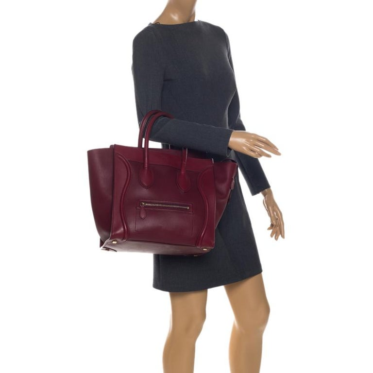 Brown Celine Red Leather Mini Luggage Tote For Sale