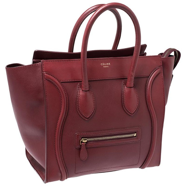 Celine Red Leather Mini Luggage Tote In Good Condition For Sale In Dubai, Al Qouz 2