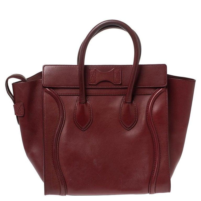 Celine Red Leather Mini Luggage Tote In Good Condition For Sale In Dubai, Al Qouz 2