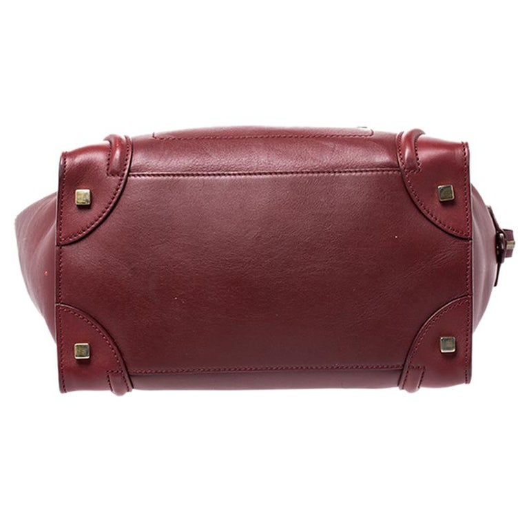 Women's Celine Red Leather Mini Luggage Tote For Sale