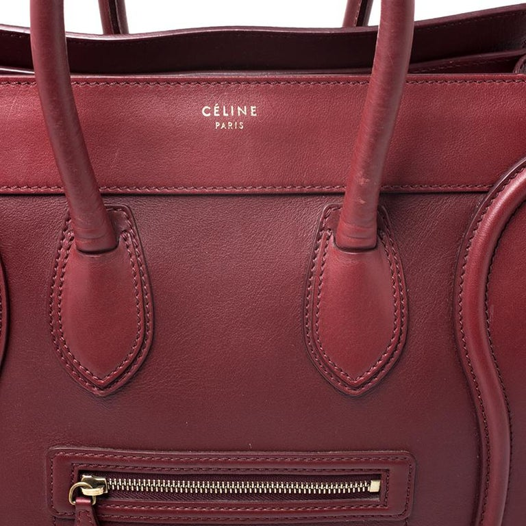 Celine Red Leather Mini Luggage Tote For Sale 4