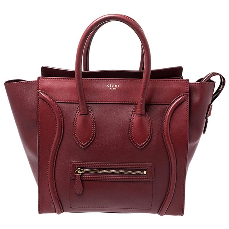 Celine Red Leather Mini Luggage Tote For Sale