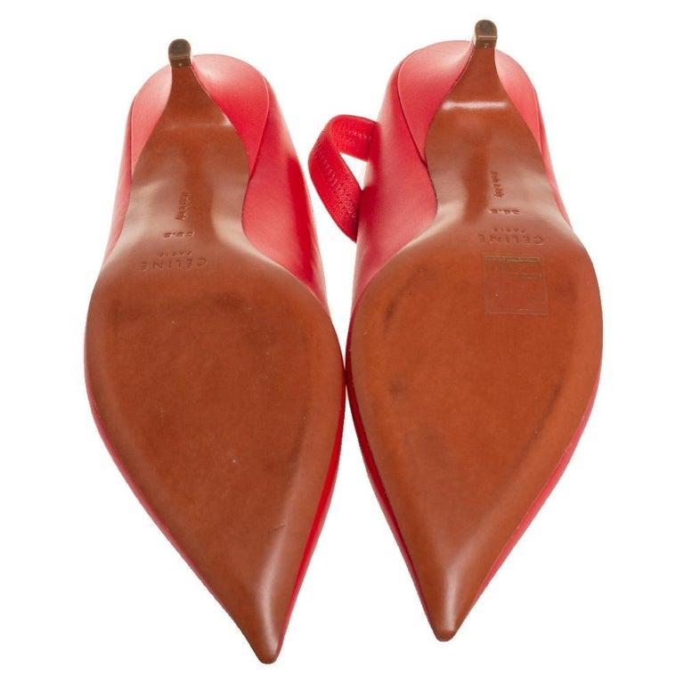 Celine Red Leather V Neck Slingback Sandals Size 38.5 For Sale 2