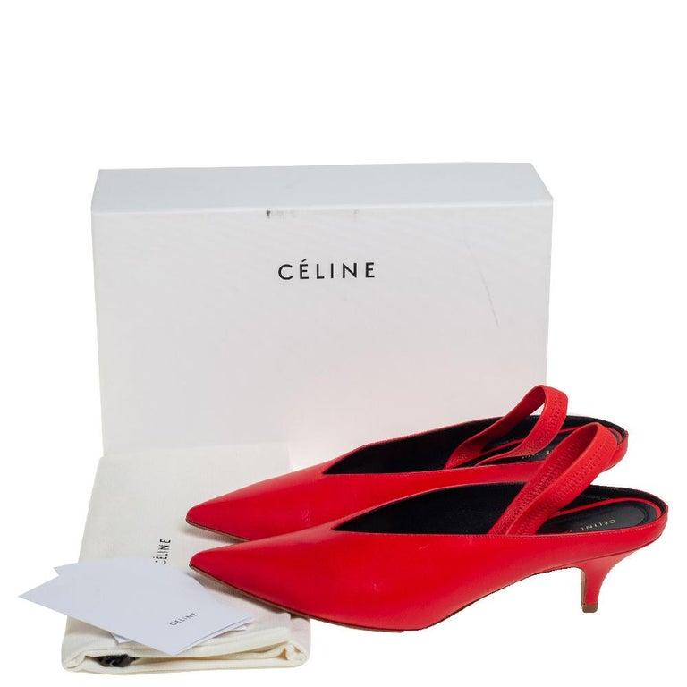 Celine Red Leather V Neck Slingback Sandals Size 38.5 For Sale 3
